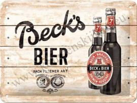 metalen deurbord Beck's bier wood 15x20 cm