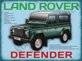 metalen wandplaat landrover defender data 30-40 cm