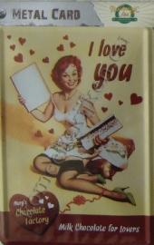 metalen ansichtkaart I love you 10-14 cm