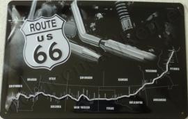 metalen wandbord Route US 66 uitlaat 20-30 cm