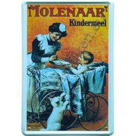 metalen ansichtkaart molenaar`s kindermeel 10-14 cm.