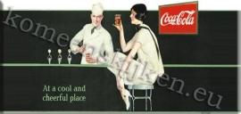metalen ansichtkaart Coca Cola dame aan bar 27-11 cm