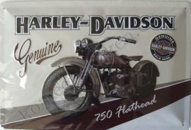 metalen reclamebord Harley Davidson 750 Flathead 20-30 cm
