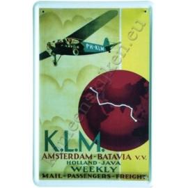 blikken reclame bord van KLM Batavia 30-40 cm