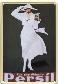 metalen ansichtkaart persil dame in witte jurk 10-14 cm