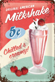 metalen wandbord milkshake 20-30 cm