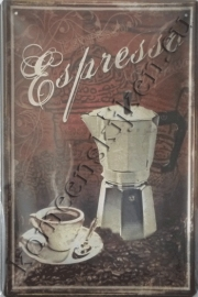 blikken wandbord espresso 20-30 cm