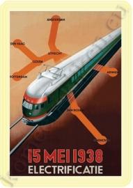 metalen ansichtkaart trein 1938 10-14 cm.