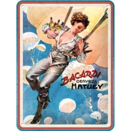 metalen wandplaat Bacardi & cerveza Hatuey 15x20 cm