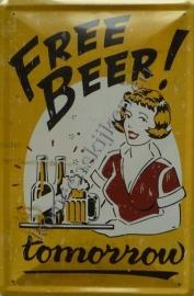 metalen wandbord free beer 20-30 cm