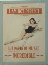 metalen wandplaat i am not perfect 30-40 cm