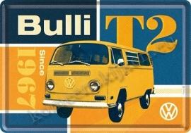 metalen ansichtkaart VW bulli T2 10-14 cm
