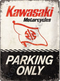 metalen wandplaat kawasaki parking only 30-40 cm