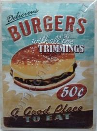 blikken reclamebord delicious burgers 30-40 cm