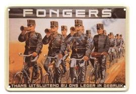 metalen ansichtkaart fongers  fietsen / leger 10-14 cm