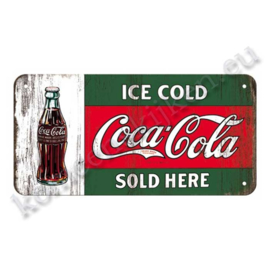 hanging sign Coca-Cola ice cold sold here 10x20 cm