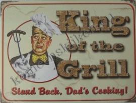 metalen reclameplaat king of the grill 30-40 cm