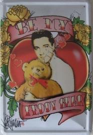 metalen wandbord elvis teddybeer 20-30 cm
