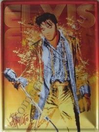 metalen wandbord Elvis Presley met microfoon 30x40 cm