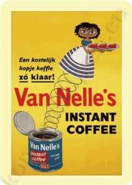 metalen ansichtkaart van nelle's instant koffie 10-14 cm.