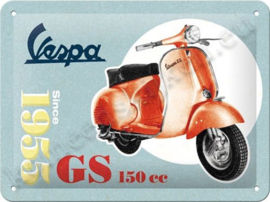 blikken wandbord Vespa GS 150 cc 15x20 cm