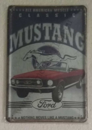 metalen wandbord Ford Mustang cabrio 20x30 cm