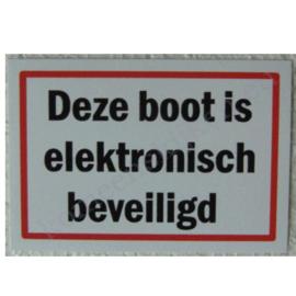 sticker deze boot is elektronisch beveiligd 10 cm.