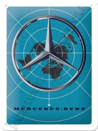 metalen reclamebord Mercedes-Benz blue map 15-20 cm
