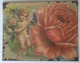 wandbord roos met engel 35-27 cm