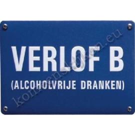 metalen wandplaat Verlof B (alcoholvrije dranken) 10-14 cm