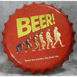 blikken kroonkurk Beer! honour your ancestors, they drank it too 40 cm