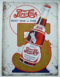metalen wandplaat pepsi cola flesje 5 cent 30-40 cm