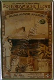 metalen ansichtkaart Rotterdamse Lloyd 10 -14 cm
