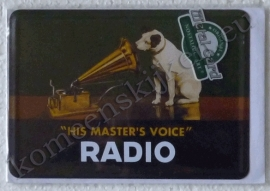 metalen ansichtkaart His Masters Voice 10-14 cm