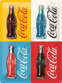 metalen wandbord coca cola four bottles limited 30-40 CM