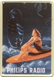 metalen ansichtkaart Philips surfboard 10-14 cm