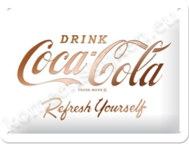 wit reclamebord Coca Cola 15x20 cm