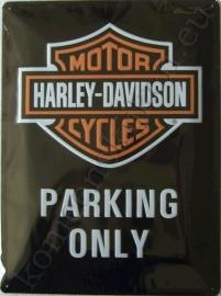 wandplaat harley davidson parking only 30-40 cm