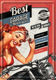 Metal postcard best garage 10-14 cm