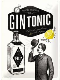 metalen wandbord gin tonic 30-40 cm