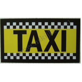 sticker taxi geel zwart met blokband  20 cm.