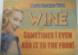 blikken bord  i love cooking with wine 30-40 cm