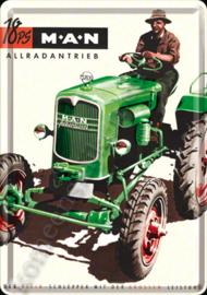 metalen ansichtkaart MAN / M.A.N. tractor 10-14 cm