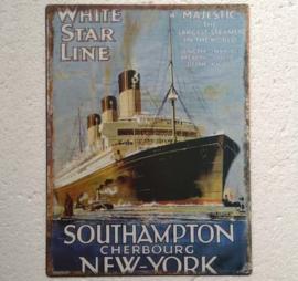 metalen wanplaat White stare line 25x33 cm