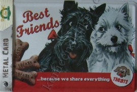 metalen ansichtkaart best friends /  westie 10-14 cm
