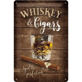 metalen bord whiskey and cigars 20-30 cm