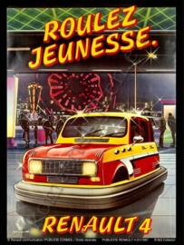 blikken reclamebord Renault 4 Roulez Jeunesse botsauto 30-40 cm