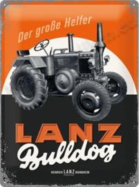 metalen reclamebord lanz bulldog oranje 30-40 cm