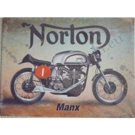 Metalen wandplaat norton manx 30-40 cm