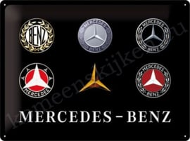 blikken reclamebord mercedes benz logo's evolution 30-40 cm